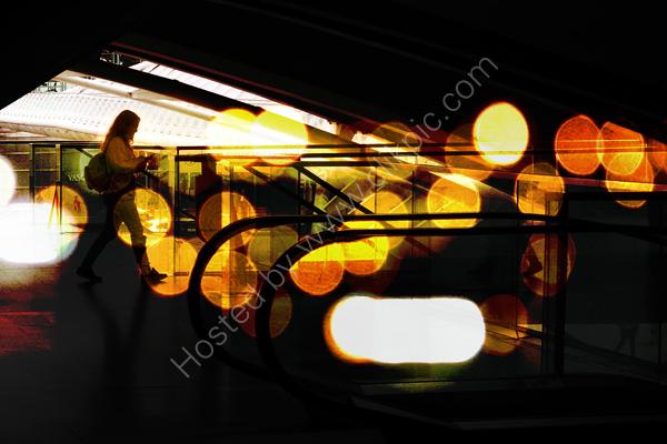 Girl with coloured lights, Lisbon station