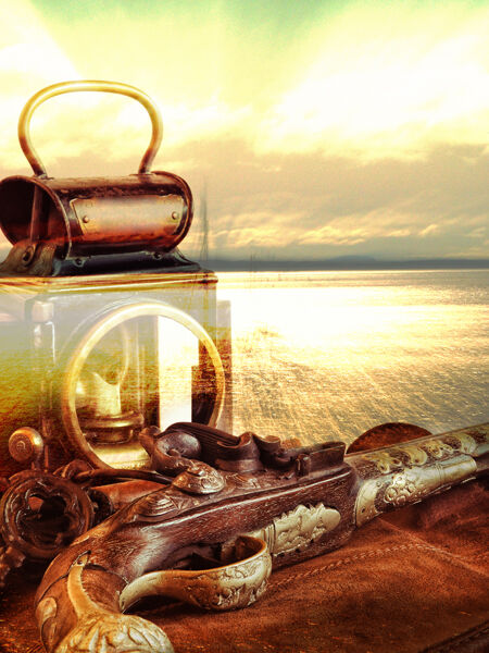 Lamp with flintlock on a shiny sea