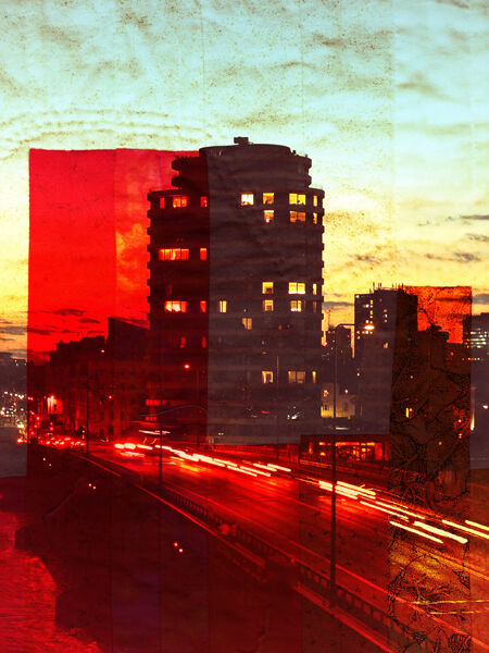 Red sunset with traffic trails