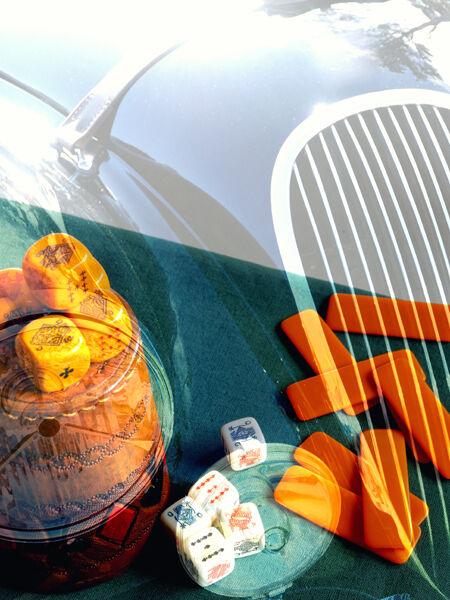 Dice and car radiator