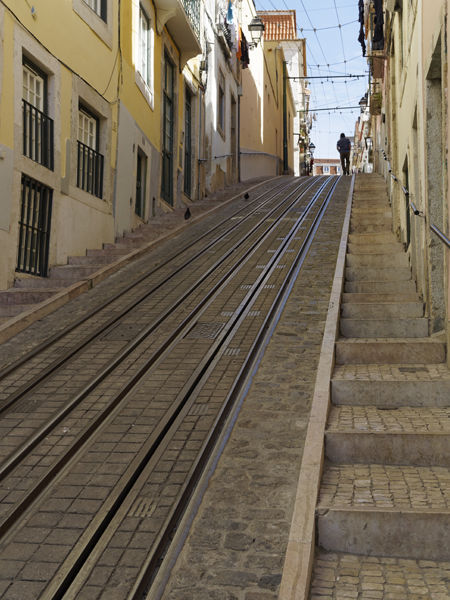 Tram lines with man