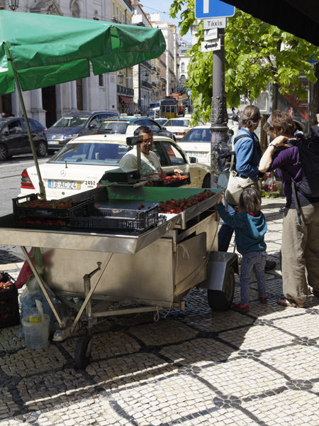 Street vendor with customers
