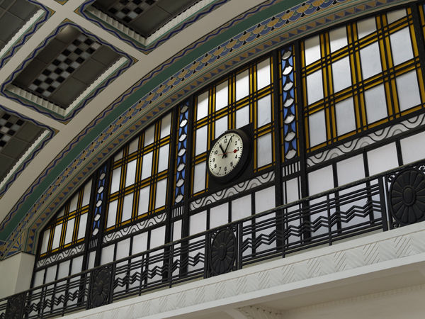 Station clock with squares
