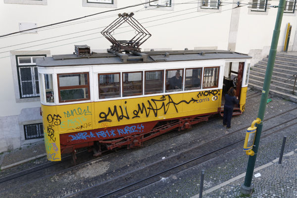 Yellow tram on a steep slope