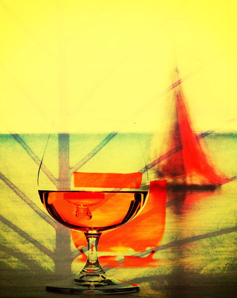 Cognac with red sail