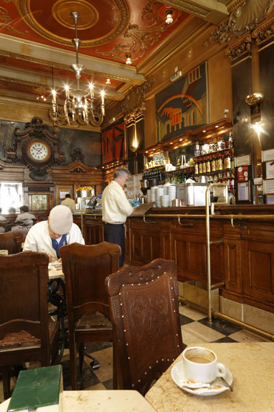 Man with cloth cap in Cafe, Lisbon