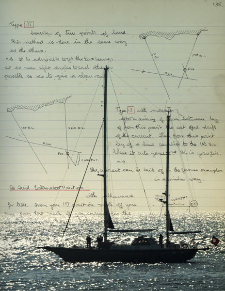 Yacht with navigation notes