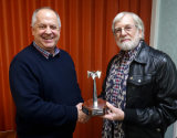 "Keith Watson, winner of the Runner-Up Ken Abbott Trophy, for ""Strike Hard Strike Sure"""