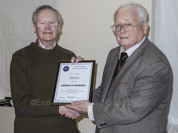 Peter Brown receives his Honorary Life Membership