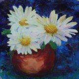Eileen McGeown still life acrylic Giant daisy bronze bowl