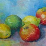 Eileen McGeown still life acrylic fruit lemons apples lime