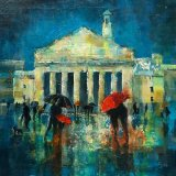 """Eileen McGeown """"Evening Rush at the Guildhall"""" Acrylic"""