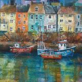 "Eileen McGeown ""Cornish Harbour"" Acrylic mixed media /p>"