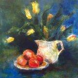 Eileen McGeown still life acrylic fruit, tulips and white jug