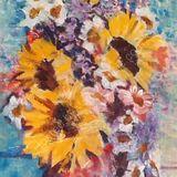 Eileen McGeown still life acrylic sunflowers