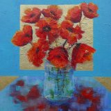 "Eileen McGeown still life ""Poppies in Gold"" Acrylic"
