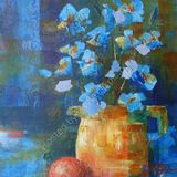 Eileen McGeown still life mixed media blue flowers in a jug