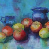 Eileen McGeown still life acrylic jugs and fruit apples and lemons