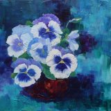 """Eileen McGeown """"Pansy Pot"""" Acrylic Blues and greens"""