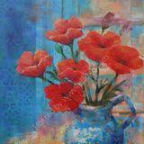 "Eileen McGeown ""Summer Daydream"" Acrylic Poppies in a vase"