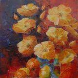 Eileen McGeown still life acrylic fruit and flowers