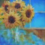 "Eileen McGeown ""Sunflowers"" Helianthus Annus in a clear vase"