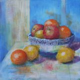 "Eileen McGeown ""Fresh"" Still life acrylic of lemons apples and oranges"