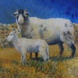 Eileen McGeown Sheep and lamb rustic farmyard painting