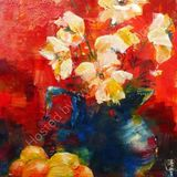 Eileen McGeown still life fruit and jug on red