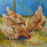 Eileen McGeown Three chickens pecking straw and seeds in a barn