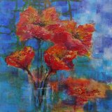 """Eileen McGeown """"Poppies in a vase"""" Red poppies in acrylic"""