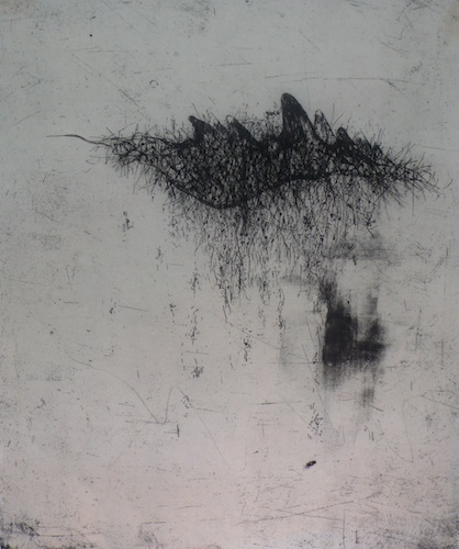 Aril <br> Etching, thread on Japanese paper, edt 6 <br> 44 x 38 cm, 2012