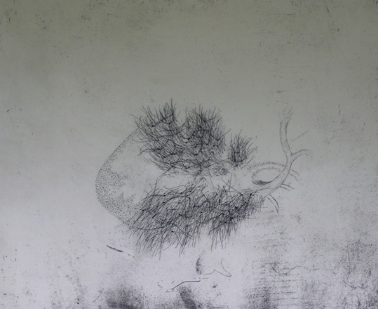 Vessel <br> Etching and thread on Japanese paper, edt 15 <br> 37 x 43 cm, 2013