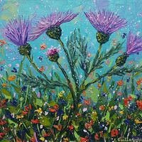 Thistle Bloom Time in Purple, SOLD