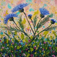 Thistle Bloom Time in Blue