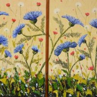 Dyptich blue thistle, SOLD