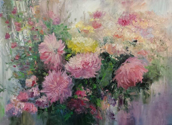 Purple dahlias bouquet, SOLD