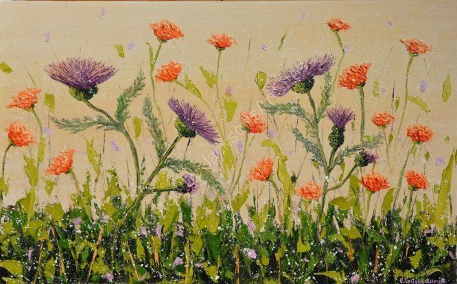 Purple thistle, SOLD