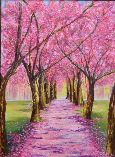 Sunset cherry blossom, SOLD