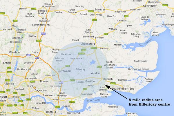 8 mile radius Essex
