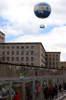 Tethered ballon above the Berlin Wall.