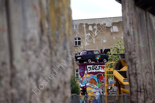 View through a gap in the Berlin Wall.