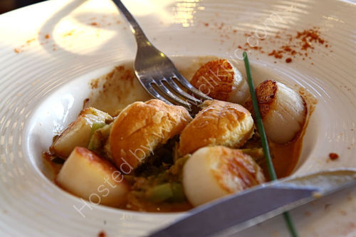 A starter of scallops at the Hotel La Mere Champlain, Cancale, Britanny, France.