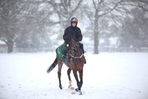 Ian Williams' racing string exercise during a snowfall.