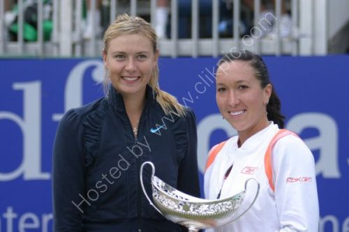 Maria Sharapova with Jelena Jankovic at the presentation at the DFS Classic tennis tournament.