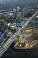 Lions Gate Bridge from a Seaplane after take off in Vancouver harbour.