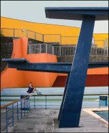 Iconic diving boards at retro pool
