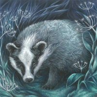 Badger print by Elly Eveleigh
