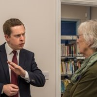 Tom Pursglove MP & Jenny Smith Oundle Library sit-in