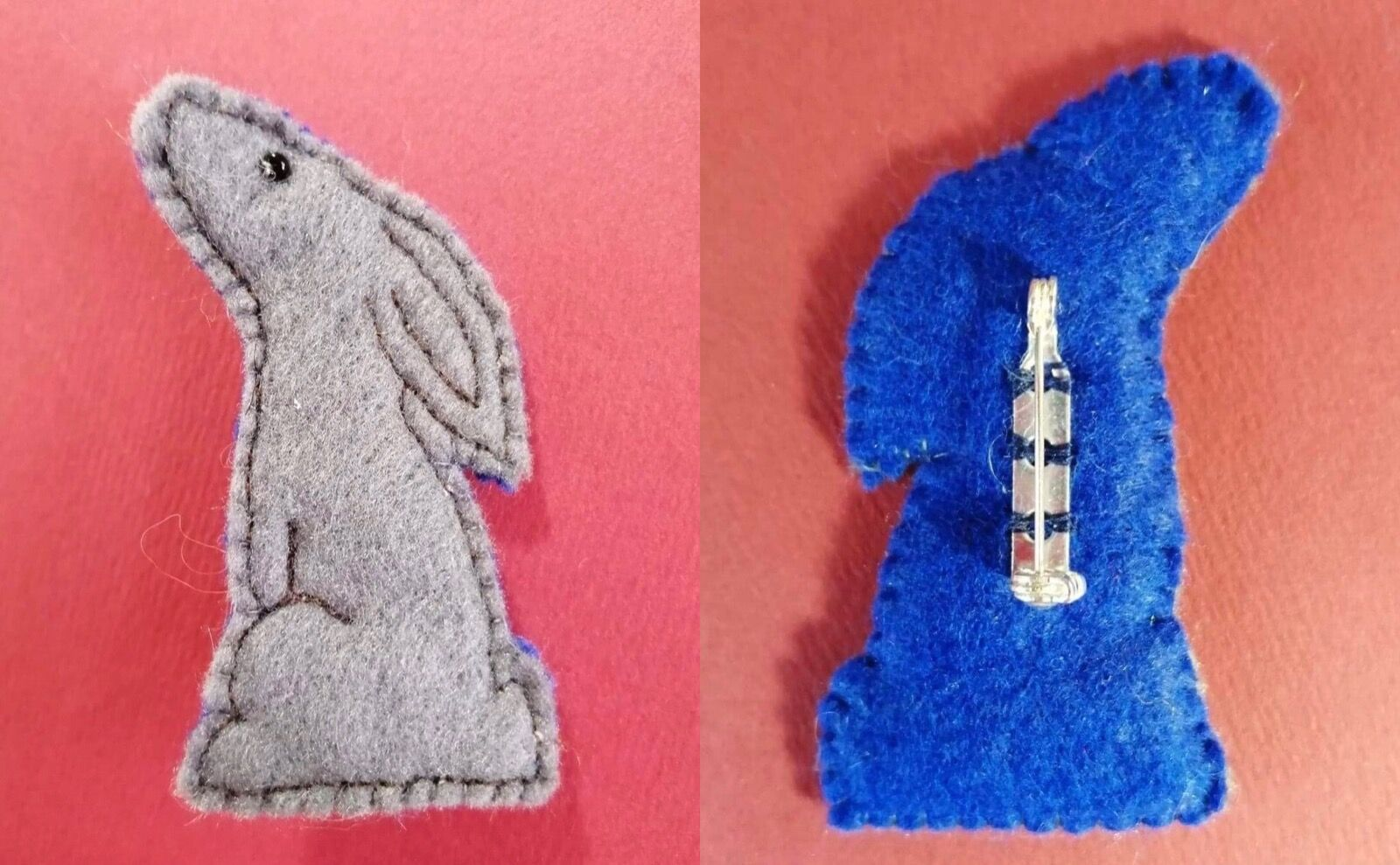 Grey/royal blue hare brooch
